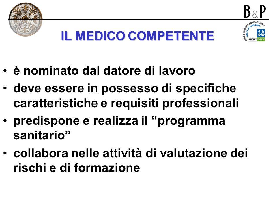 IL MEDICO COMPETENTE è nominato dal datore di lavoro. deve essere in possesso di specifiche caratteristiche e requisiti professionali.