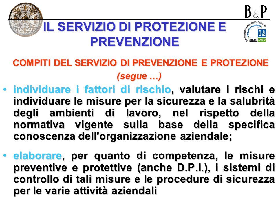 IL SERVIZIO DI PROTEZIONE E PREVENZIONE