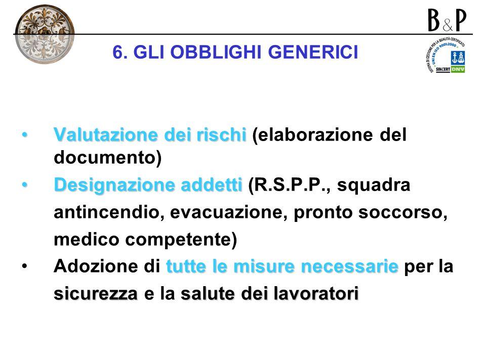 6. GLI OBBLIGHI GENERICI Valutazione dei rischi (elaborazione del documento) Designazione addetti (R.S.P.P., squadra.
