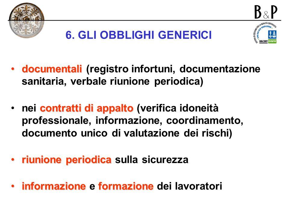 6. GLI OBBLIGHI GENERICI documentali (registro infortuni, documentazione sanitaria, verbale riunione periodica)