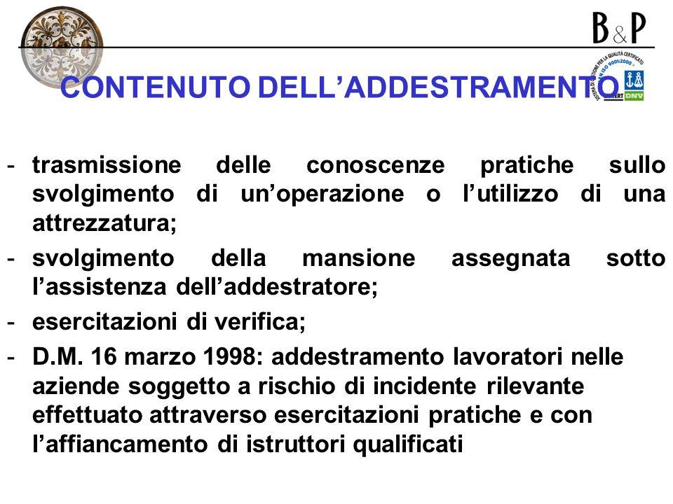 CONTENUTO DELL'ADDESTRAMENTO