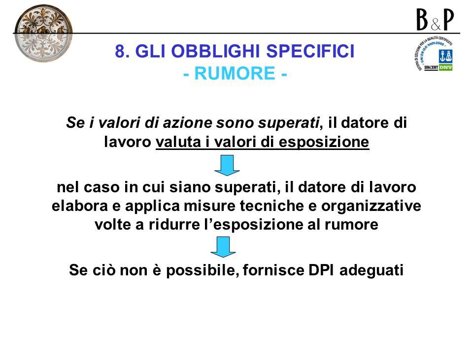 8. GLI OBBLIGHI SPECIFICI - RUMORE -