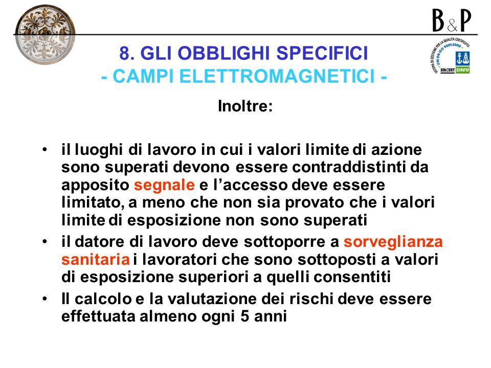 8. GLI OBBLIGHI SPECIFICI - CAMPI ELETTROMAGNETICI -