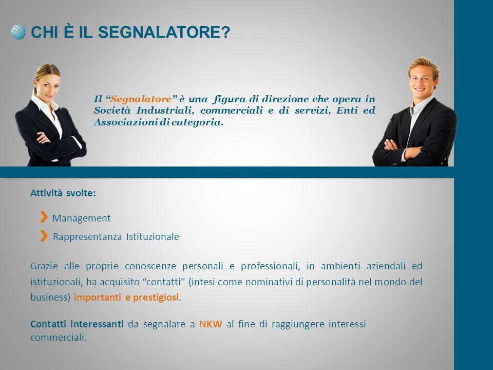 CHI È IL SEGNALATORE Attività svolte: Management