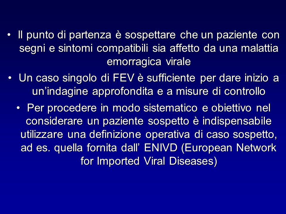 Il punto di partenza è sospettare che un paziente con segni e sintomi compatibili sia affetto da una malattia emorragica virale