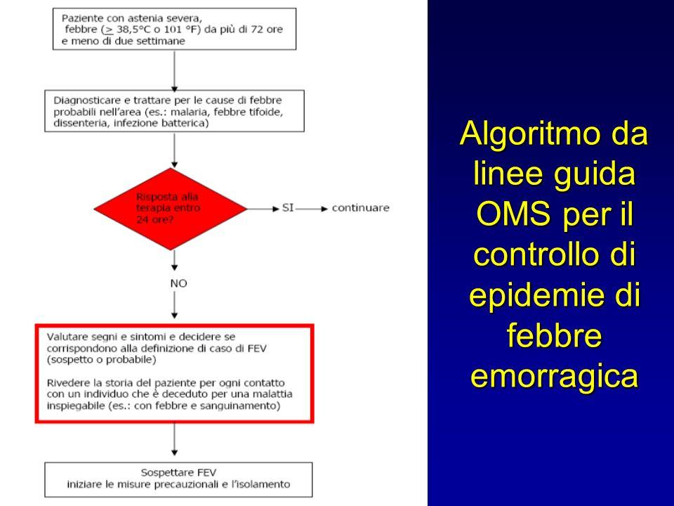Algoritmo da linee guida OMS per il controllo di epidemie di febbre emorragica