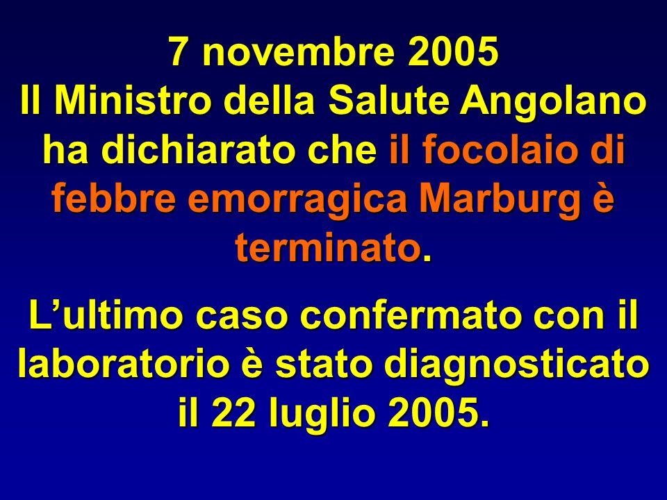 7 novembre 2005Il Ministro della Salute Angolano ha dichiarato che il focolaio di febbre emorragica Marburg è terminato.