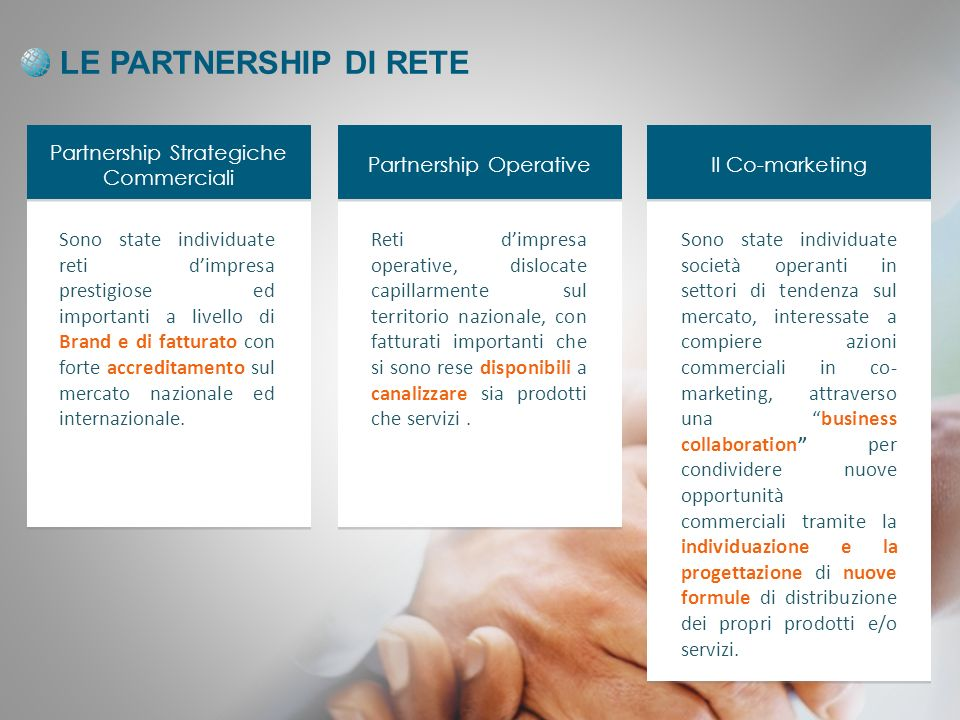 LE PARTNERSHIP DI RETE Partnership Strategiche Commerciali