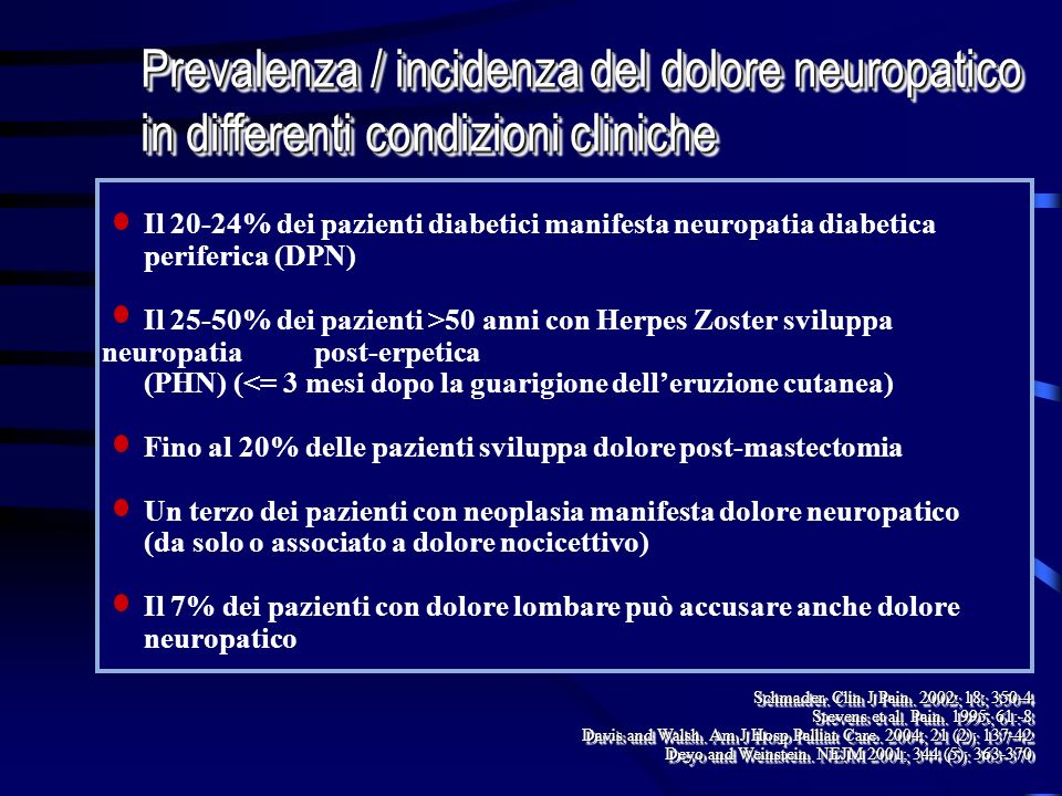 Prevalenza / incidenza del dolore neuropatico