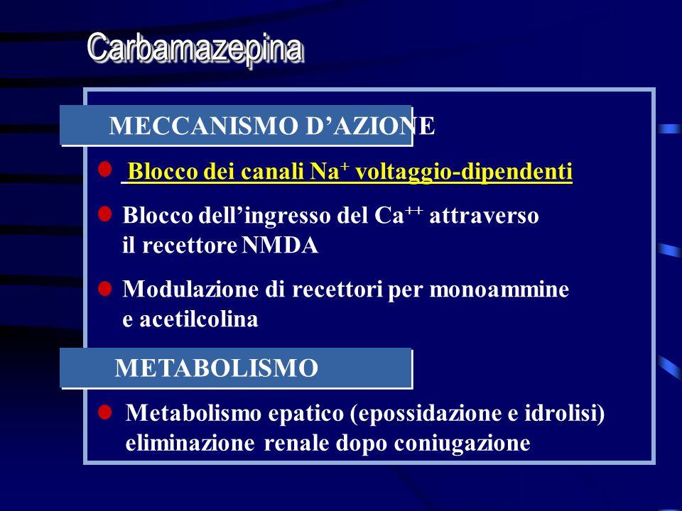 Carbamazepina MECCANISMO D'AZIONE METABOLISMO