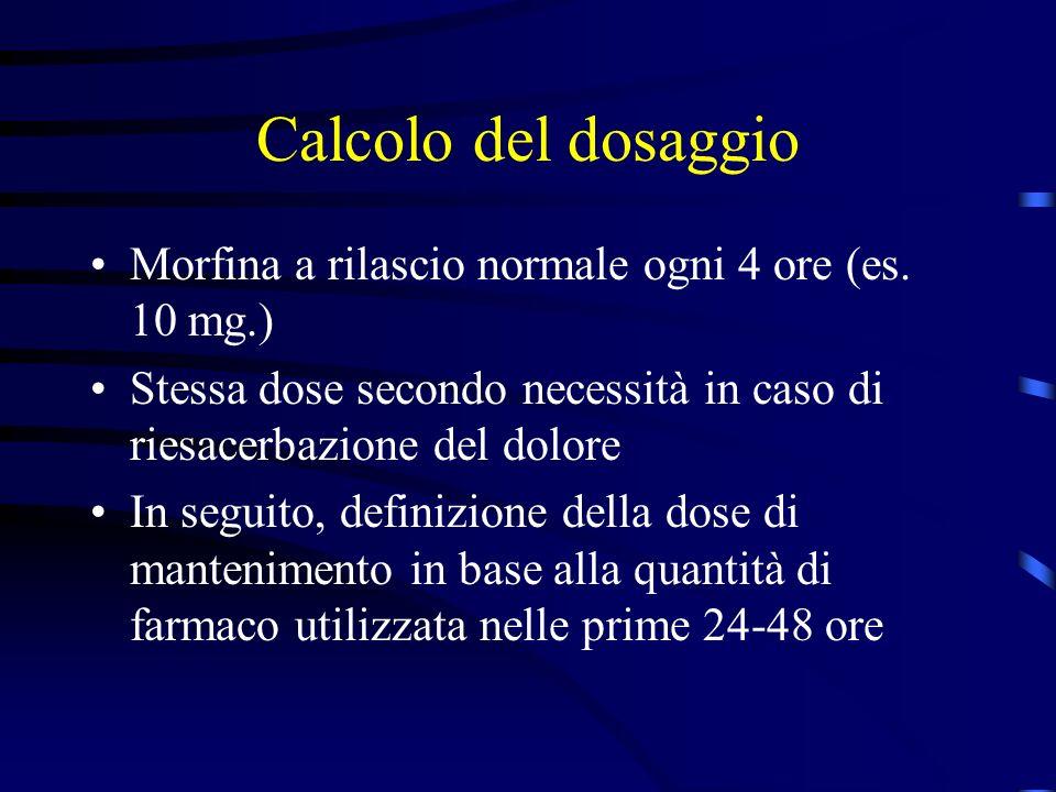 Calcolo del dosaggio Morfina a rilascio normale ogni 4 ore (es. 10 mg.) Stessa dose secondo necessità in caso di riesacerbazione del dolore.