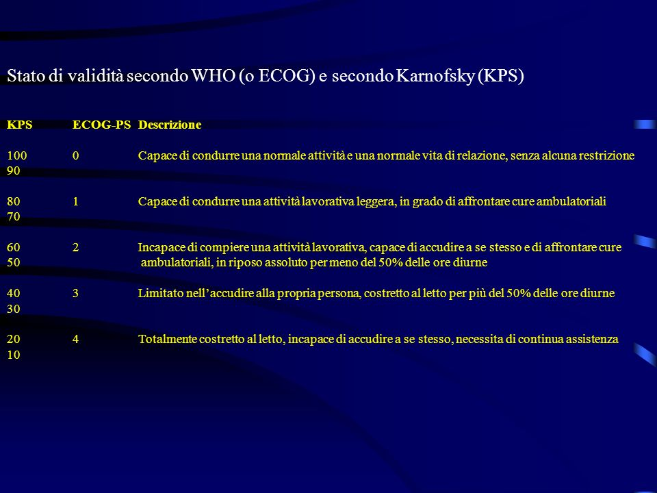 Stato di validità secondo WHO (o ECOG) e secondo Karnofsky (KPS)