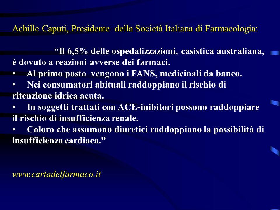 Achille Caputi, Presidente della Società Italiana di Farmacologia: