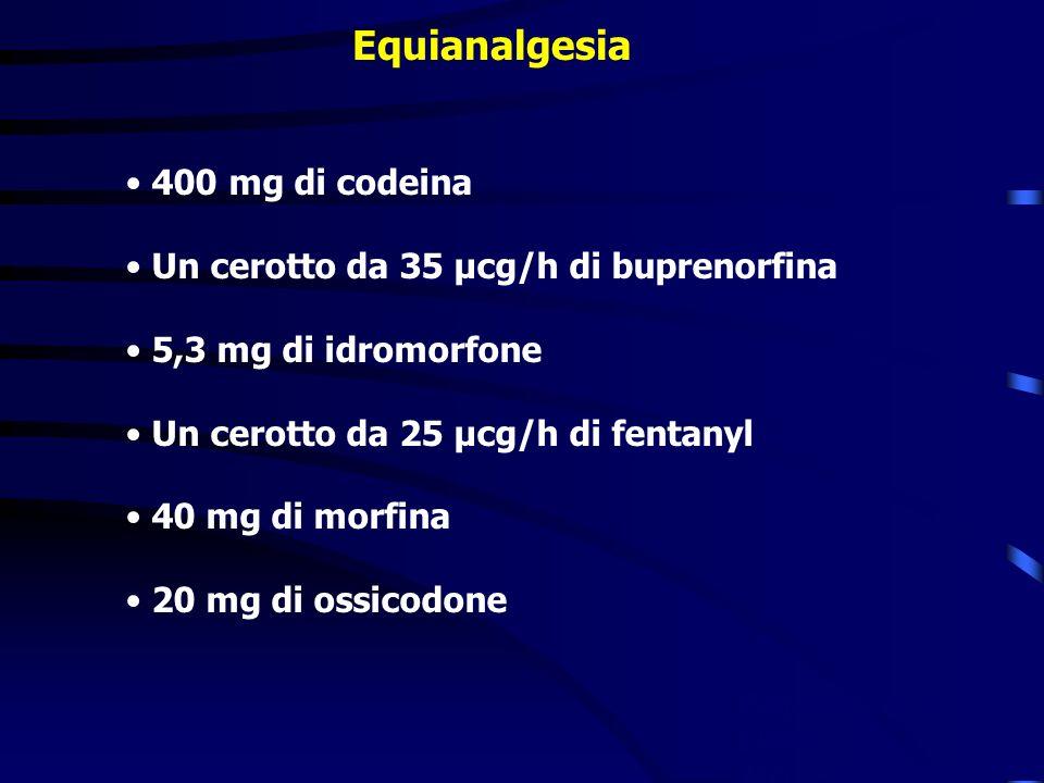 Equianalgesia 400 mg di codeina Un cerotto da 35 µcg/h di buprenorfina