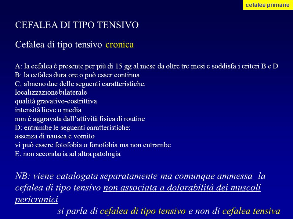 CEFALEA DI TIPO TENSIVO