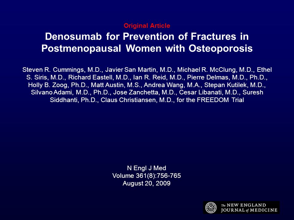 Original Article Denosumab for Prevention of Fractures in Postmenopausal Women with Osteoporosis