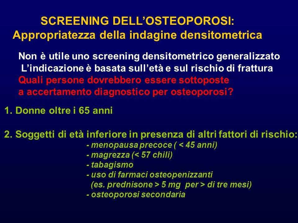 SCREENING DELL'OSTEOPOROSI: