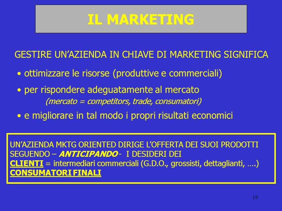 IL MARKETING GESTIRE UN'AZIENDA IN CHIAVE DI MARKETING SIGNIFICA