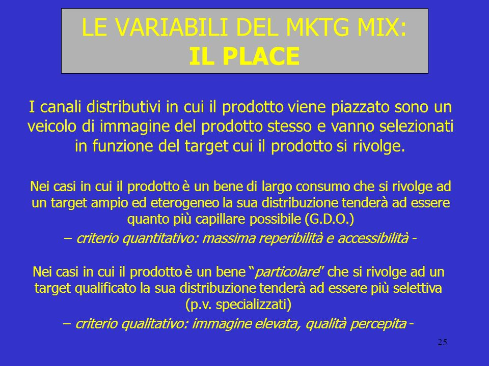LE VARIABILI DEL MKTG MIX: IL PLACE