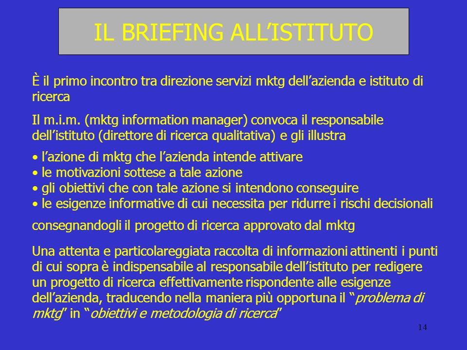 IL BRIEFING ALL'ISTITUTO
