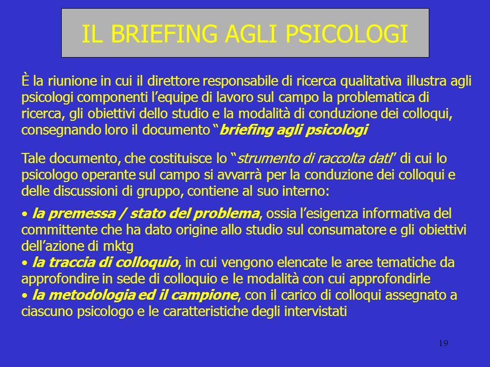 IL BRIEFING AGLI PSICOLOGI