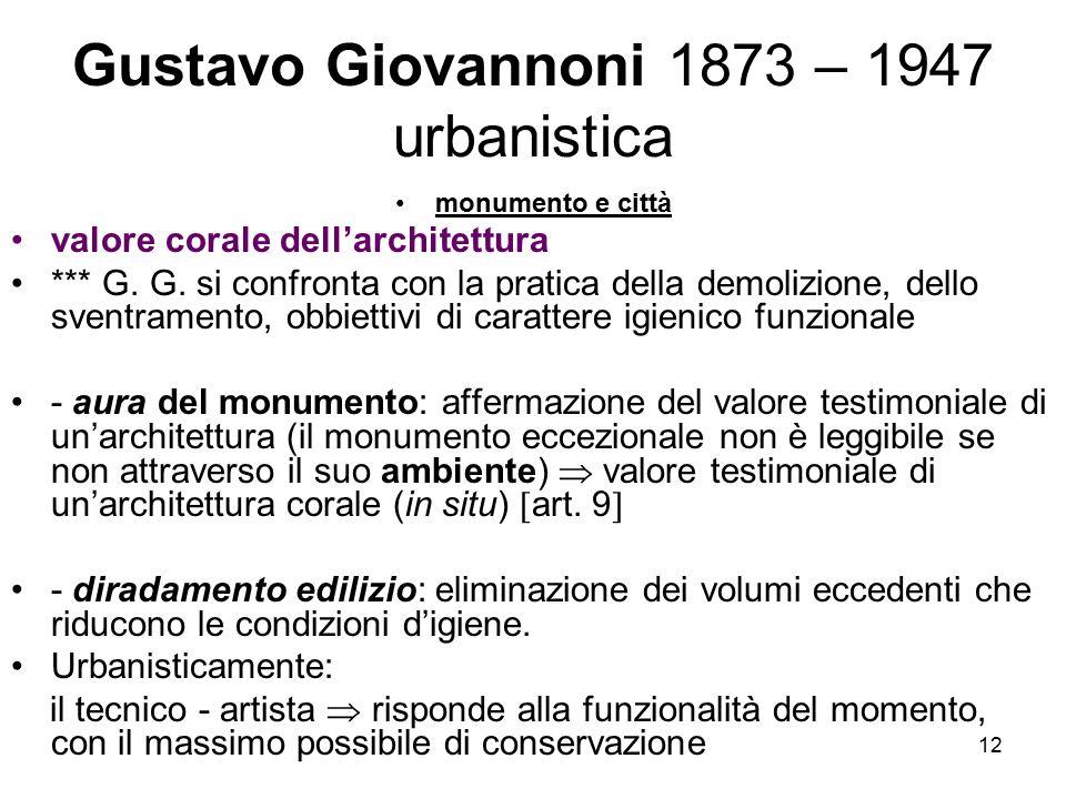 Gustavo Giovannoni 1873 – 1947 urbanistica