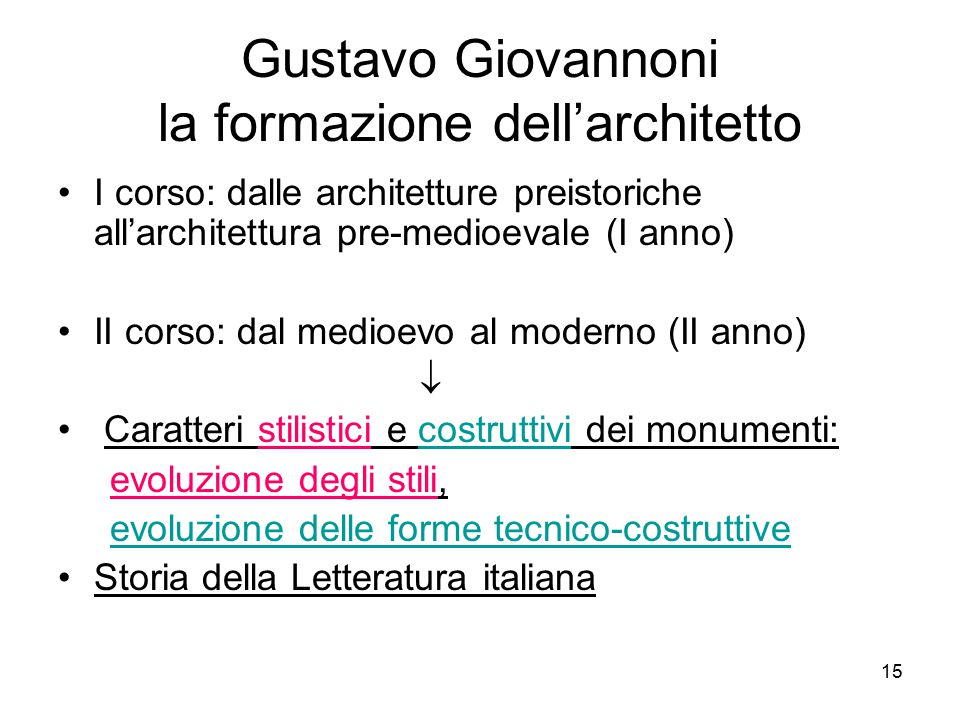 Gustavo Giovannoni la formazione dell'architetto