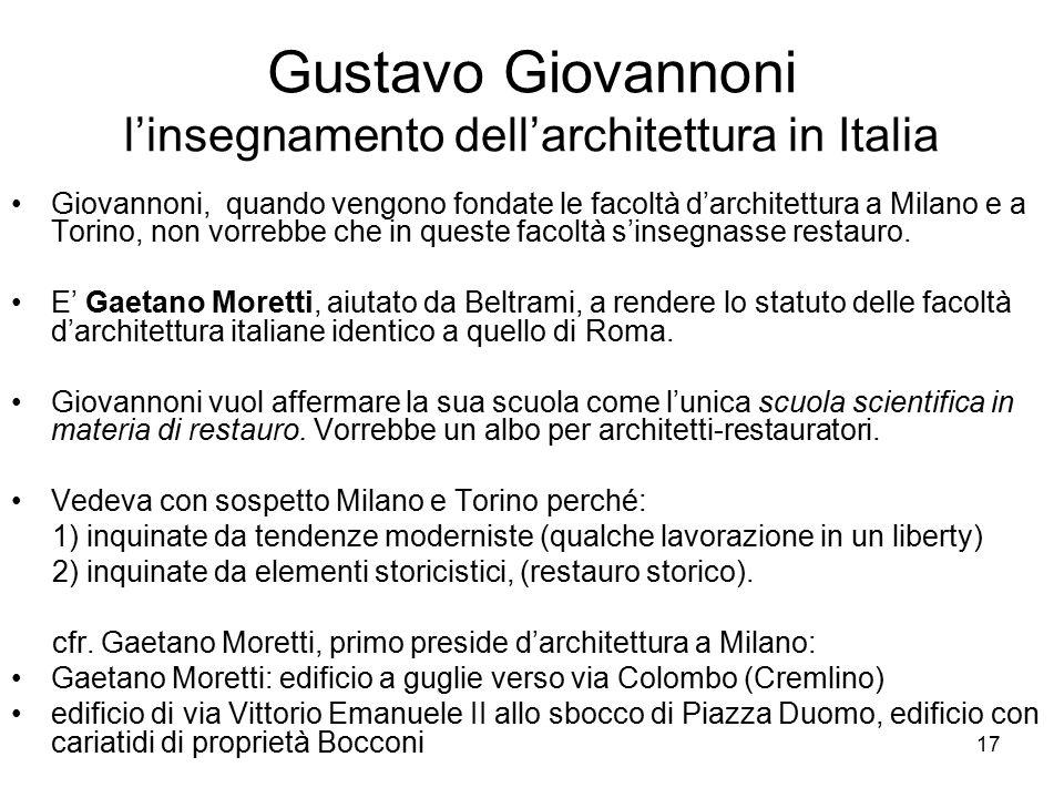 Gustavo Giovannoni l'insegnamento dell'architettura in Italia