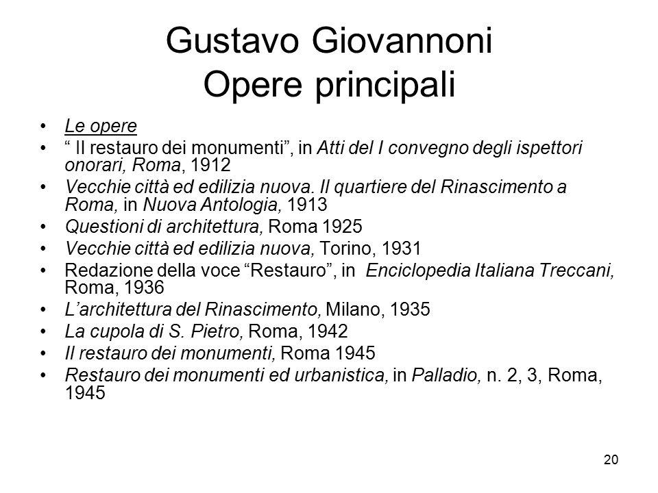Gustavo Giovannoni Opere principali