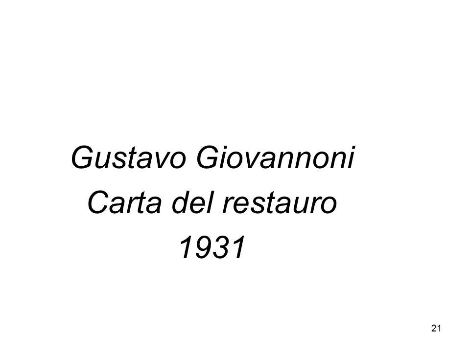 Gustavo Giovannoni Carta del restauro 1931