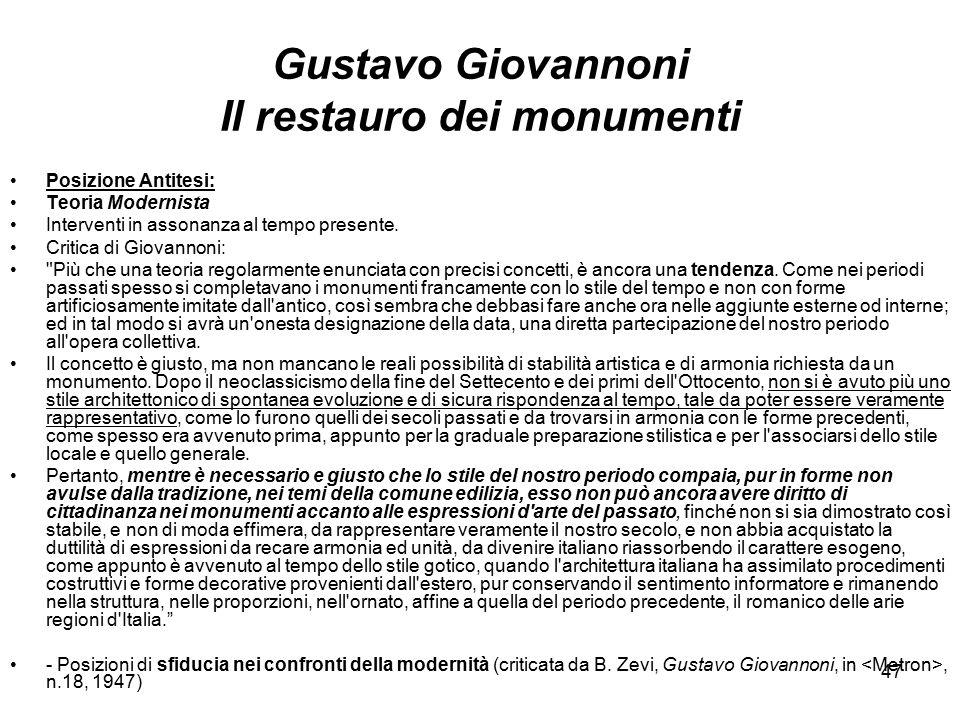 Gustavo Giovannoni Il restauro dei monumenti