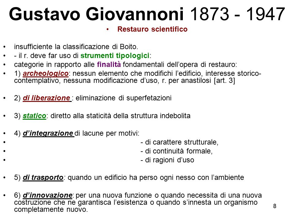 Gustavo Giovannoni 1873 - 1947 Restauro scientifico