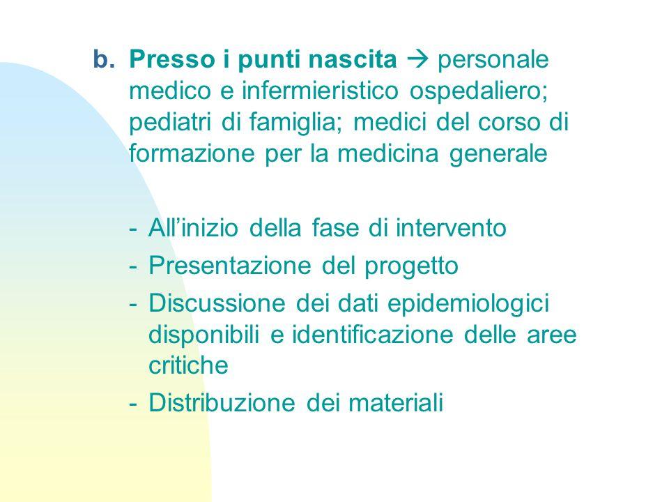 Presso i punti nascita  personale medico e infermieristico ospedaliero; pediatri di famiglia; medici del corso di formazione per la medicina generale