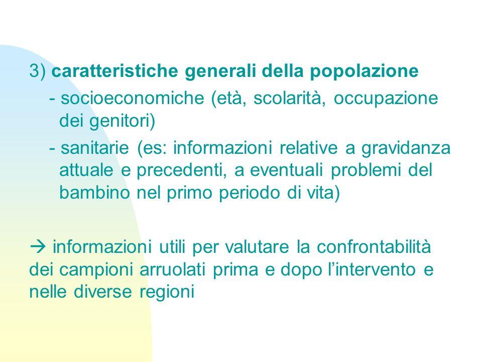 3) caratteristiche generali della popolazione
