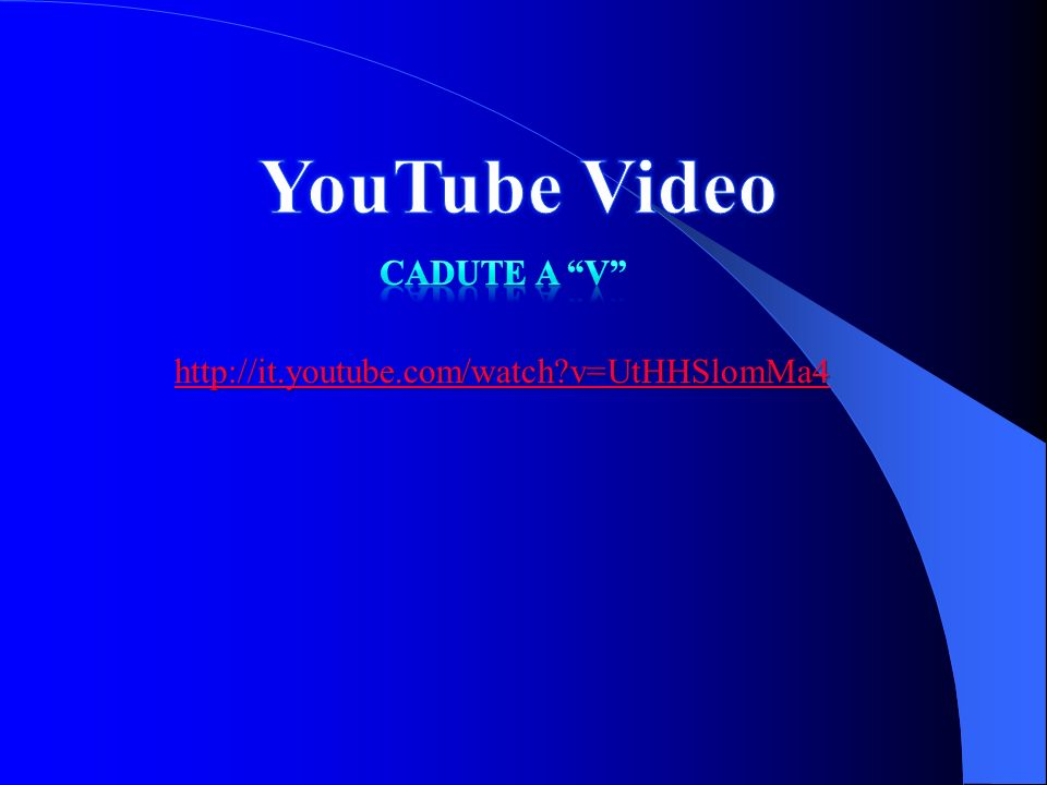 YouTube Video Cadute a V http://it.youtube.com/watch v=UtHHSlomMa4