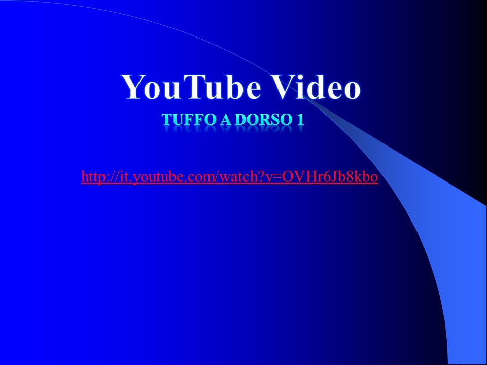YouTube Video Tuffo a dorso 1