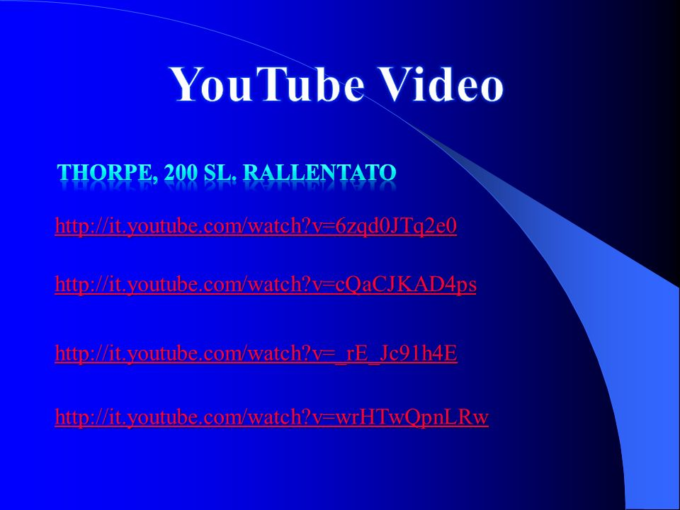 YouTube Video Thorpe, 200 SL. Rallentato