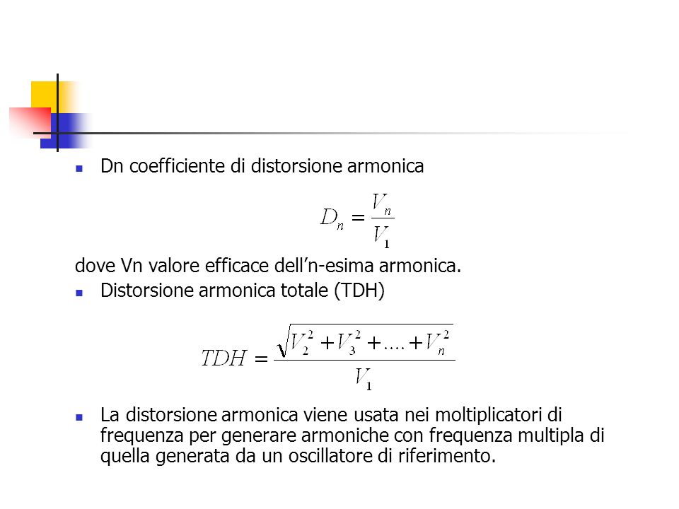 Dn coefficiente di distorsione armonica