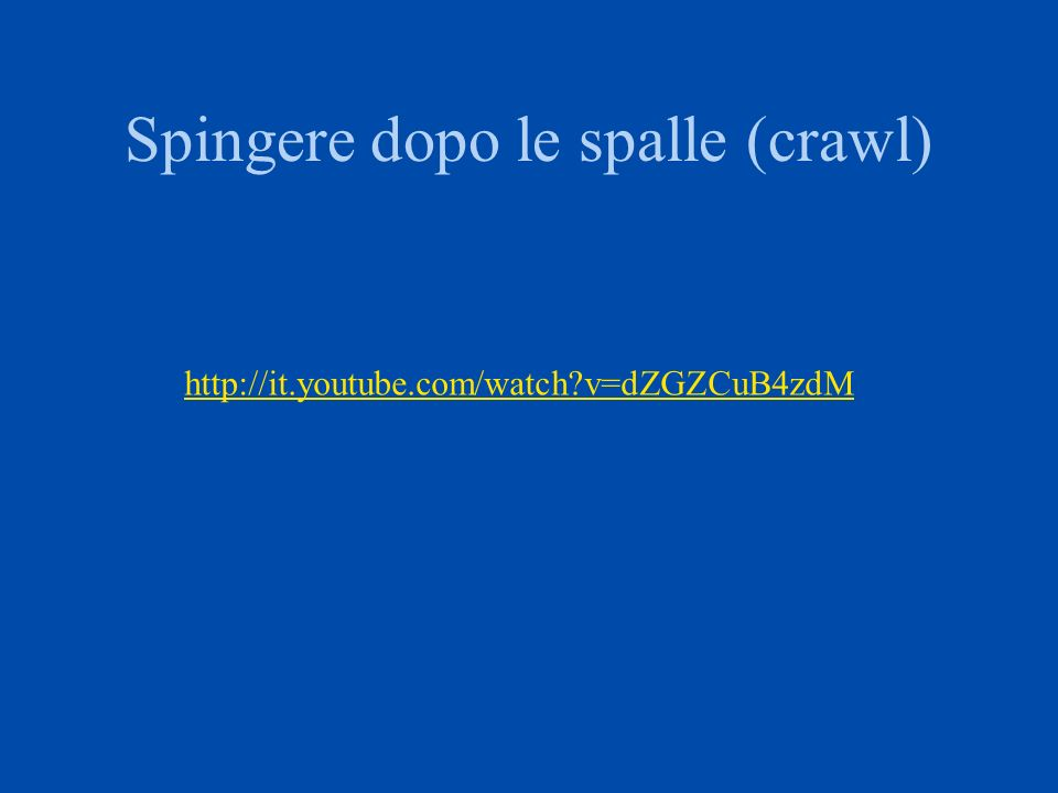 Spingere dopo le spalle (crawl)