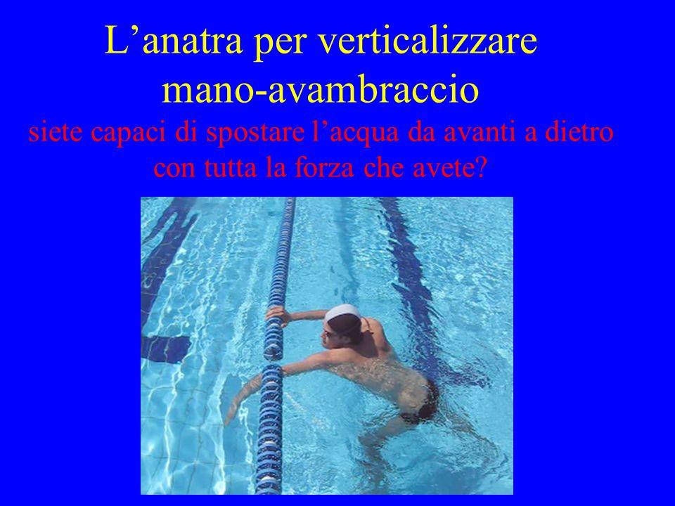 L'anatra per verticalizzare mano-avambraccio siete capaci di spostare l'acqua da avanti a dietro con tutta la forza che avete