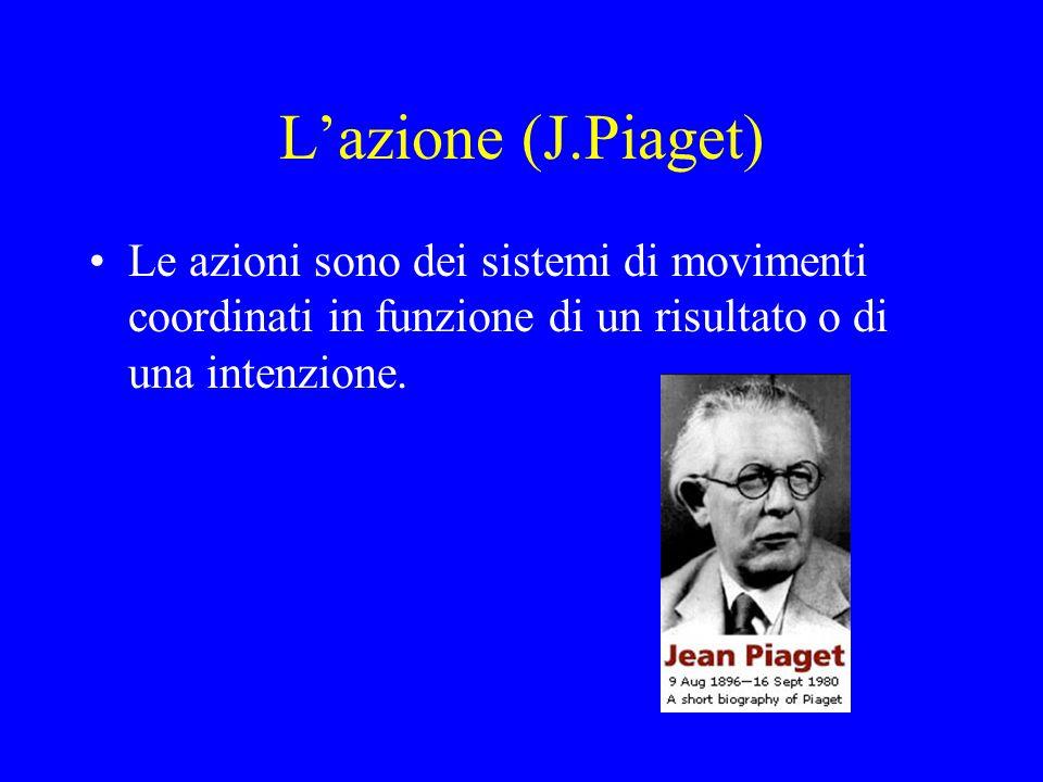 L'azione (J.Piaget) Le azioni sono dei sistemi di movimenti coordinati in funzione di un risultato o di una intenzione.