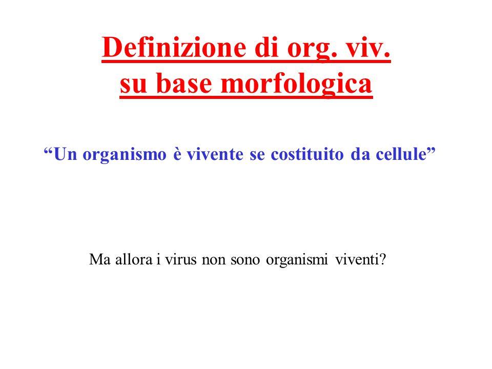 Definizione di org. viv. su base morfologica
