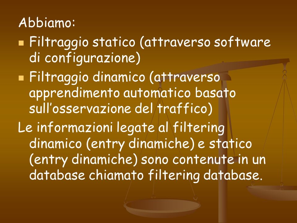 Abbiamo:Filtraggio statico (attraverso software di configurazione)