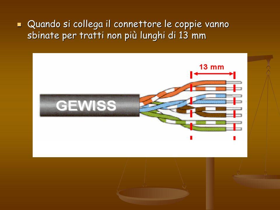 Quando si collega il connettore le coppie vanno sbinate per tratti non più lunghi di 13 mm