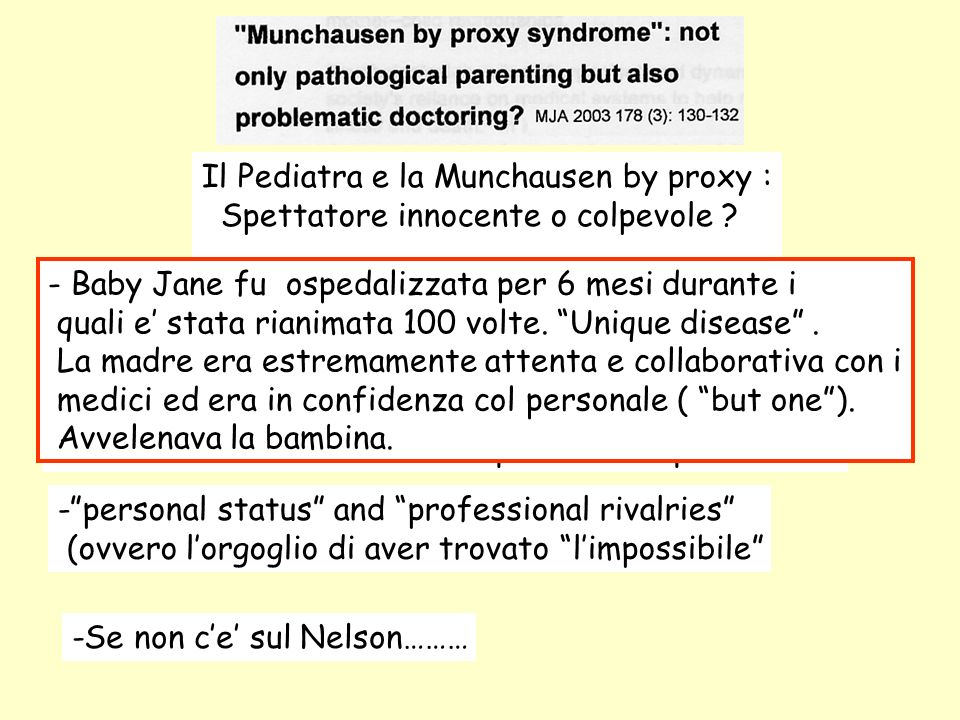 Il Pediatra e la Munchausen by proxy :