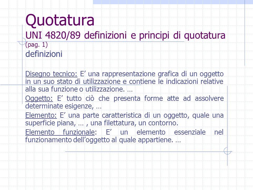 Quotatura UNI 4820/89 definizioni e principi di quotatura (pag. 1)