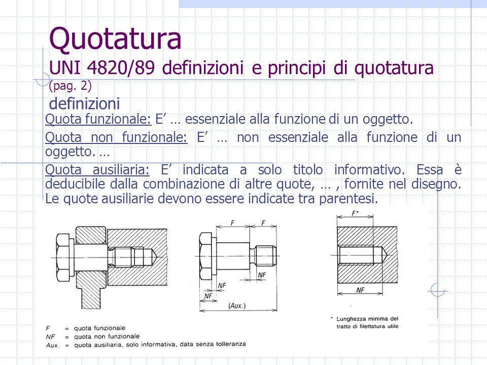 Quotatura UNI 4820/89 definizioni e principi di quotatura (pag. 2)