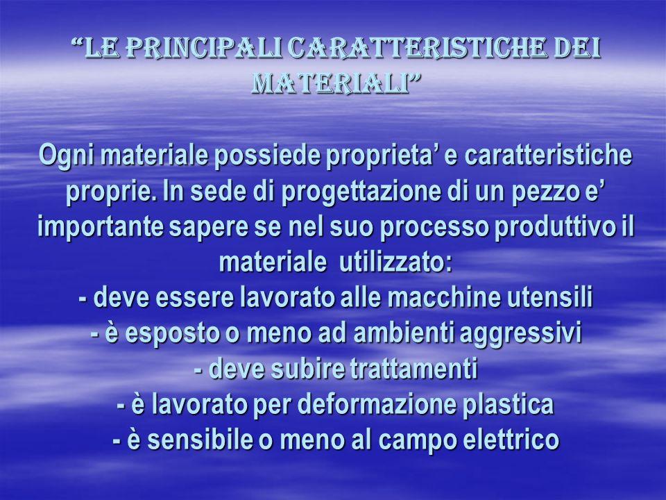Le principali caratteristiche dei materiali Ogni materiale possiede proprieta' e caratteristiche proprie.