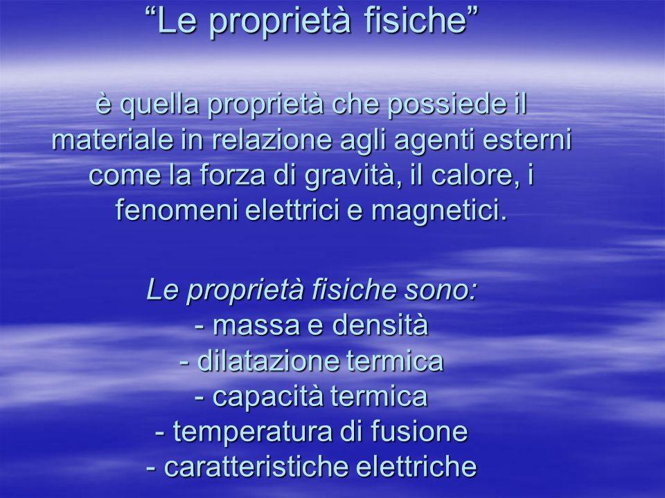 Le proprietà fisiche è quella proprietà che possiede il materiale in relazione agli agenti esterni come la forza di gravità, il calore, i fenomeni elettrici e magnetici.