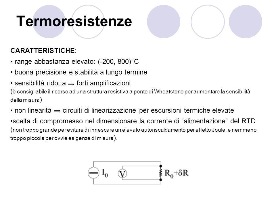 Termoresistenze CARATTERISTICHE: